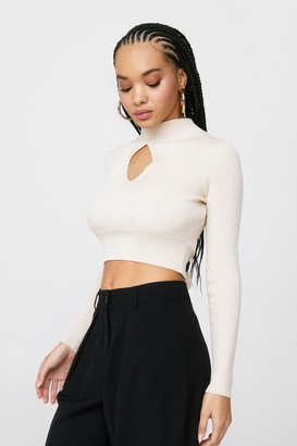 Nasty Gal Womens Keyhole Lotta Love Knitted Tie Crop Top - Oatmeal