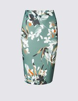 Marks and Spencer Scuba Floral Print Pencil Midi Skirt