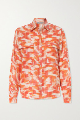 Three Graces London Willow Printed Linen Shirt - Orange