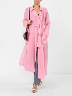 Maison Rabih Kayrouz pink belted trench coat