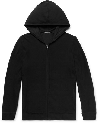 James Perse Waffle-Knit Cotton Zip-Up Hoodie