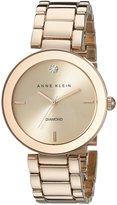 Anne Klein Women's AK/1362RGRG Diamond Dial Wall to Wall Rose-Tone Bracelet Watch