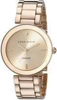 Anne Klein Women's AK-1362RGRG Diamond Dial Watch Rose /Rose