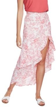 1 STATE Porcelain Floral-Print Ruffled Skirt