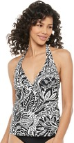 Chaps Women's Leaf Print Halterkini Top