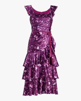 Marchesa Notte Charm Ruffle Cocktail Dress