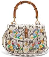 Gucci Embroidered bamboo-handle snakeskin bag
