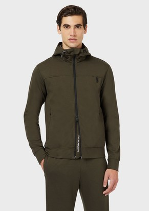 Emporio Armani Travel Essential Hooded, Jersey Sweatshirt With Full-Length Zip