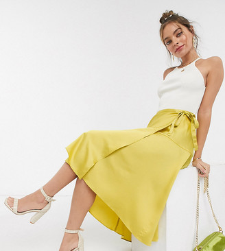 ASOS DESIGN Petite satin wrap maxi skirt with tie waist detail in mustard yellow