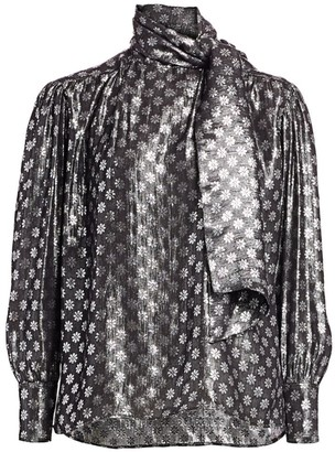 Dodo Bar Or Kelly Lurex Silk & Metallic Tieneck Blouse