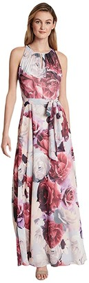 Tahari ASL Petite Ruched Neck Gown (Blue/Pink Floral) Women's Dress