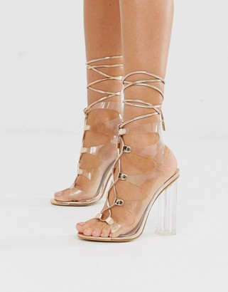 Public Desire Mango clear lace up block heeled sandals in rose gold