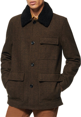 Andrew Marc Men's Novelty Wool Chore Coat w/ Removable Faux-Shearling Collar