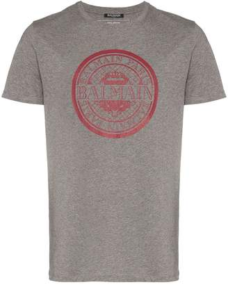Balmain grey and red logo print cotton t shirt