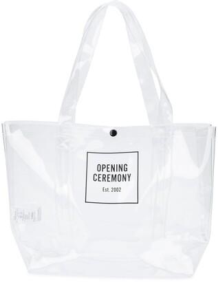 Opening Ceremony medium Box Logo transparent tote bag