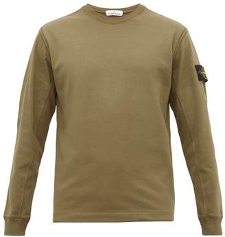 Stone Island Arm-badge Cotton Long-sleeved T-shirt - Mens - Dark Green
