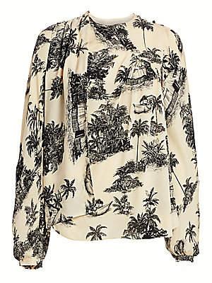 Johanna Ortiz Women's Maloca Life Tropical Wrapped Scarf Blouse