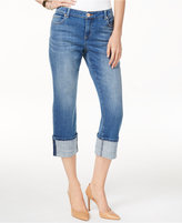 INC International Concepts Cuffed Indigo Wash Cropped Jeans, Only at Macy's