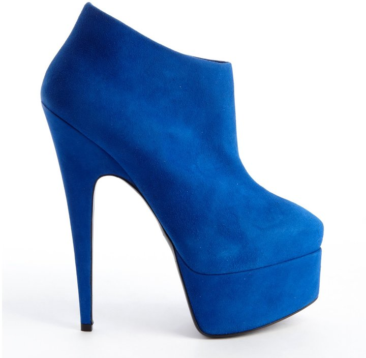 Giuseppe Zanotti Royal Blue Suede Side Zipper Detail Platform Ankle Booties