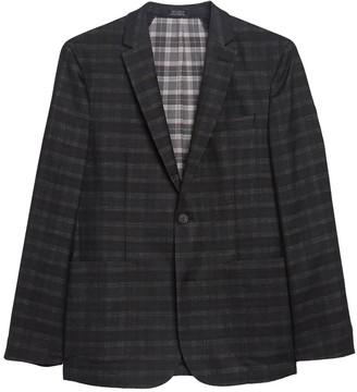 Vince Camuto Del'Aria Black Plaid Two Button Notch Lapel Jacket