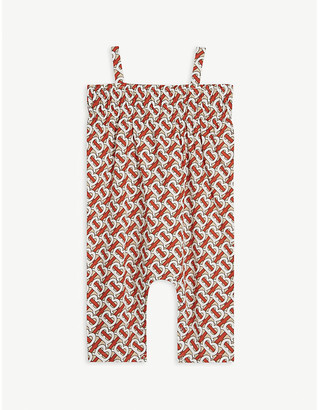 Burberry TB monogram-print cotton jumpsuit 6-24 months