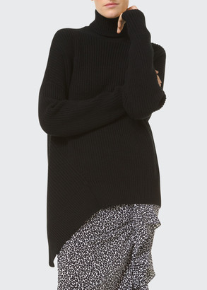 Michael Kors Collection Shaker-Knit Cashmere Asymmetric Turtleneck Sweater