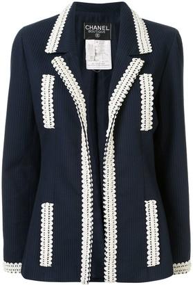 Chanel Pre Owned Jacquard Stripe Open Jacket