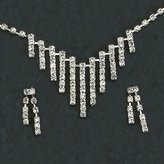 Gc Handcrafted Silver Stripes Crystal Necklace and Earrings Set