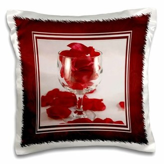 East Urban Home Wine Glass with Rose Petals Pillow Cover