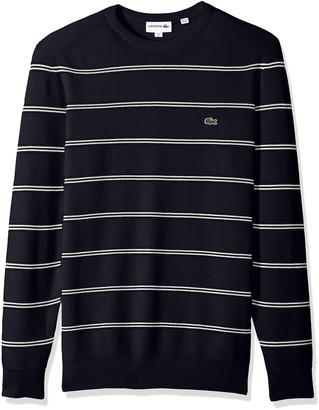 Lacoste Men's Long Sleeve Stripes Half Cardigan Rib Sweater AH4548