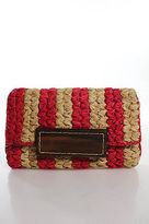 Mar y Sol Hot Pink Beige Woven Straw Wood Closure Clutch Handbag