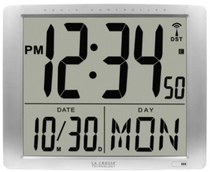 """La Crosse Technology Atomic Extra-Large Digital Wall Clock with 7"""" Time"""