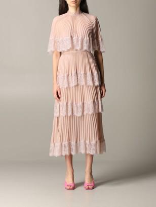 Self-Portrait Long Dress With Flounces And Lace Edges