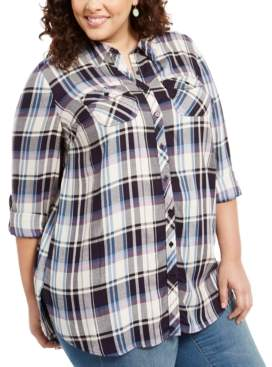 Style&Co. Style & Co Plus Size Plaid Utility Shirt, Created For Macy's