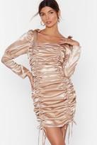 Nasty Gal Womens Blame It on the Ruche Satin Mini Dress - beige - 6
