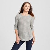 Heather B Women's Cabled Pullover Sweater - Light Gray Heather S