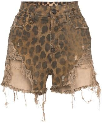R 13 leopard-print distressed shorts