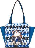 Love Moschino houndstooth logo print shoulder bag