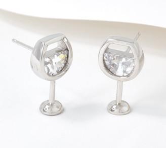 Diamonique Wine Glass Stud Earrings, Sterling Silver