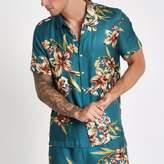River Island Mens Blue short sleeve floral print shirt