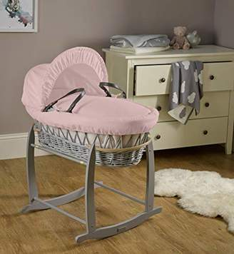 Clair De Lune Cotton Dream Grey Wicker Moses Basket - Pink