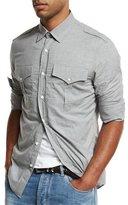 Brunello Cucinelli Military Flap-Pocket Sport Shirt, Gray