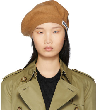 Burberry Tan Merino Wool Logo Beret