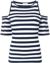 MICHAEL Michael Kors striped cold shoulder T-shirt