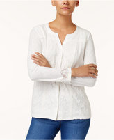 Style&Co. Style & Co Petite Lace Button-Front Top, Created for Macy's