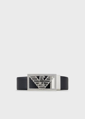 Emporio Armani Reversible Leather Belt With Logo Buckle