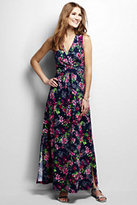 Lands' End Women's Knit Maxi Dress-Ivory/Black Dots