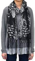 White Deer Peacock & Heart Sequins Scarf Shawl