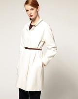 ASOS WHITE Belted Domain Sleeve Coat