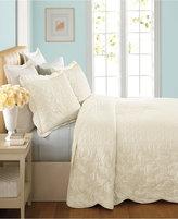 Martha Stewart Collection Pressed Flowers Queen Bedspread